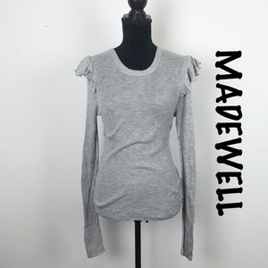 Madewell Gray Ruffle Shoulder Thermal Top Sz M